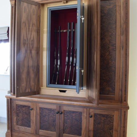 A pair of bespoke gun cabinets in American Black Walnut made in the GA workshop